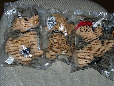 Set of 3 Vintage 1990's TACO BELL Dog Sealed New TALKING CHIHUAHUA Plush Lot
