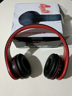 4 in 1 Stereo Headphones MP3 player FM Radio Wireless black/red NEW