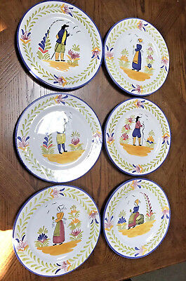 "6 Folk Art 10"" Pottery Plates Breton Man and Woman Portugal ~ Quimper Pattern"