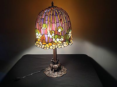 Vintage Tiffany Style Stained Glass Lotus Water Lily Large Table Lamp