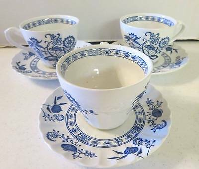 """J & G Meakin Ironstone """"Blue Nordic"""" Set of Three Cups & Saucers DW Safe EUC"""