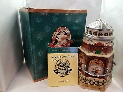 Anheuser Busch Collectors Club 1999 Members Only Stein ~ CLYDESDALE STABLE ~ NEW