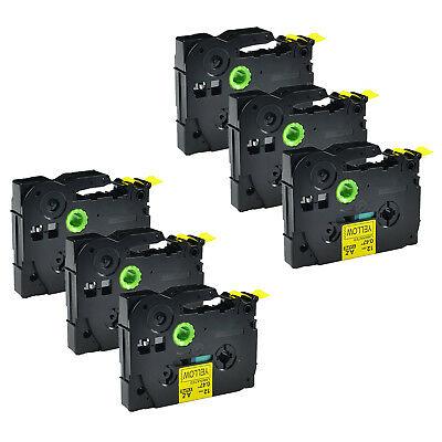 """6PK TZ631 1/2"""" black on yellow label tape for Brother Ptouch  H100 PT2030 PT2730"""