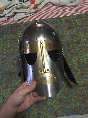 Hand-crafted Anglo-Saxon Steel Replica Helmet
