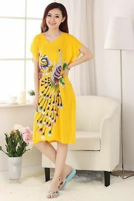 Charming Chinese 100% Cotton Women's robe Gown sleepwear yellow