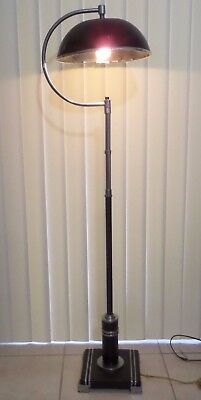 1920's American Art Deco Floor Lamp Metal Shade Curvy Lady Black And Chrome