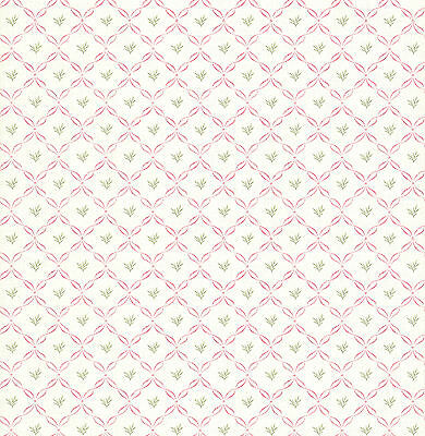 Brewster Pink Ribbon Lattice Wallpaper - FD64089