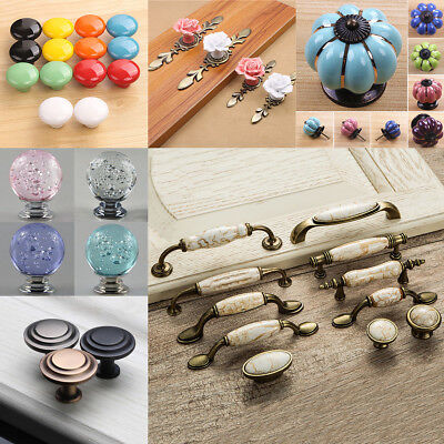Vintage Ceramic Door Knob Handle Crystal Round Kitchen Cabinet Drawer Pull Kit