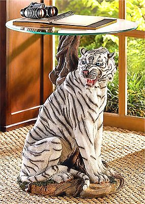 White Tiger Accent End Side Or Night Stand Table ** Nib