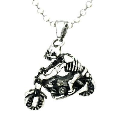 Vintage Steampunk Jewelry Necklace Pendant Motorbike Skeleton Sweater Chain