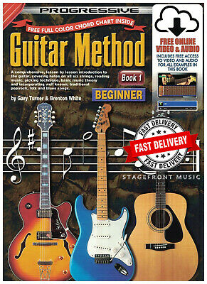 Progressive Guitar Method Book 1 Beginner Book FREE Online Media & Chord Poster