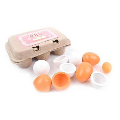 6Pcs Wooden Simulation Eggs Toy Pretend Play Kitchen Food Cooking Baby Kids Toy