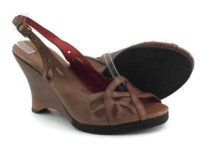 faab0b483114 Kenzie Billy Women s Brown Leather Strappy Slingback Wedge Sandals Size 6.5  ...