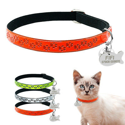 """3/8"""" Wide Reflective Personalized Cat Collars Safety Florescence Design Free ID"""