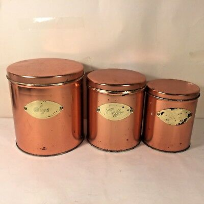 Vtg 6 Pc  Copper Finish Farmhouse Canister Set w Brass Plate Tea Coffee Sugar