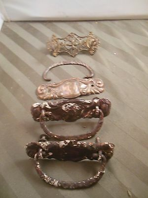 3 Vintage  Antique Brass Tone  Drawer  Pulls Plus One