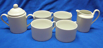 Fitz and Floyd Fine Porcelain China White Shoulders Cream/Sugar Set with 4 Cups