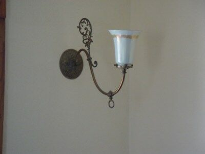 Fabulous set of 5 signed Lustre Art Glass shades and matching brass fixtures