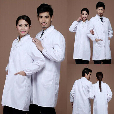 Unisex Lab Coat Medical Doctor Clinic Healthcare Vet White Long Sleeve Uniform