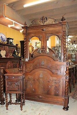 Beautiful French Antique Louis XIII Walnut Bedroom Set Armoire Bed & Nightstand.
