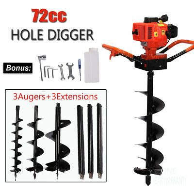 72cc Power Engine 4HP Gas Powered One Man Post Hole Digger +3 Bits +3 Extensions