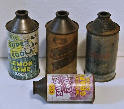 Vintage Lot of 4 Top Tin Cans C&C, Rhinelander, Beer & Soda