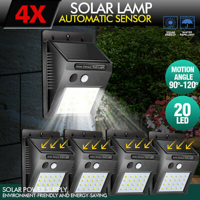 4X Solar Powered Bright Led Wireless PIR Motion Sensor Security Shed Wall Light