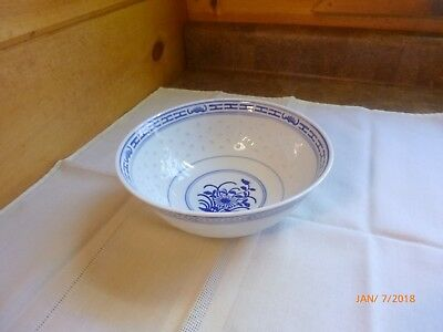 """Vintage Oriental Bowl Made in China White Blue Chinese Letters Rice Noodle 6.5"""""""