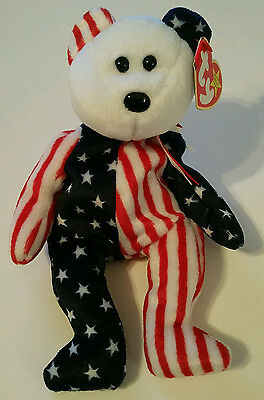 NEW - Ty Beanie Babies Spangle - the American Bear (WHITE face) Retired 1999