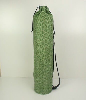 Cotton Yoga/Pilates Mat Bag with Adjustable Carry Strap Fits Mat 6mm-Green