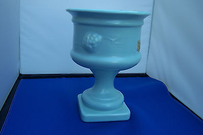 "Camark Pedestal Vase - Camden, Ark - Paper Label- 8 1/2 "" Lt Blue - Perfect"