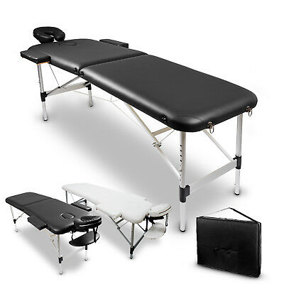 2 Fold 60cm Portable Aluminium Massage Table Bed Body Therapy Waxing Black White