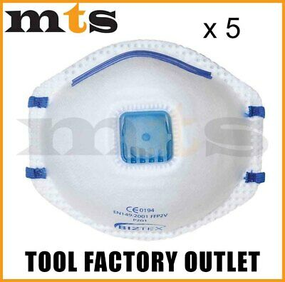 5 X Portwest P201 Ffp2 Valved Dust Mask Respirator Mist - Disposable