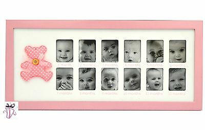 My First Year Pink 12 Month Baby Photo Frame Baby Girl Gift Present