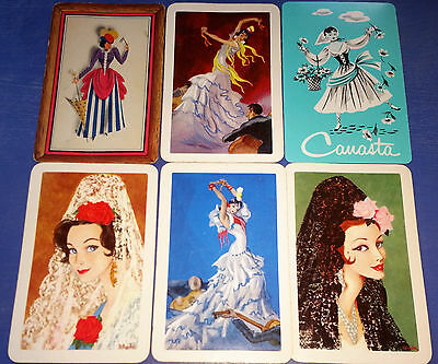 LADIES - Lot of 6 Single Vintage Swap Trading Playing Cards
