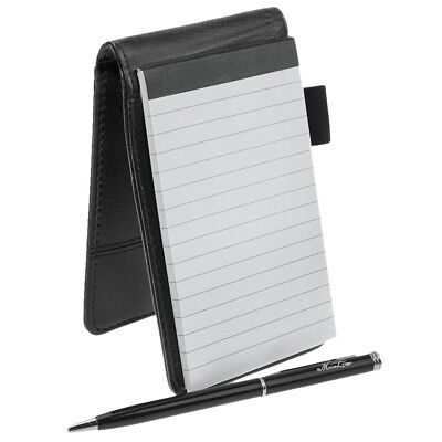Small Pocket PU Leather Business Notebook Holder Notepad Handy Refillable Black