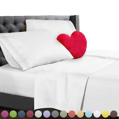 Comfort 1800 Count Deep Pocket Fitted Bed Sheet Cover Set Twin Full Queen King A