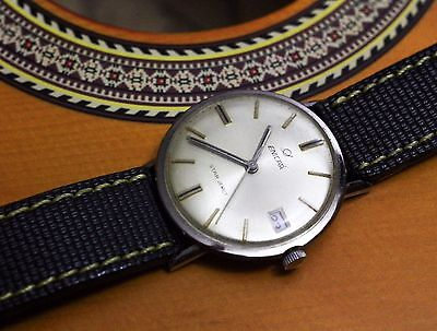 Vintage Enicar Star Jewels Hand Winding Watch Racer Yellow Stitch Strap