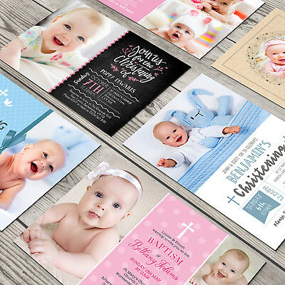 Personalised Photo Christening Baptism Naming Day Invitation Boy or Girl (G1)