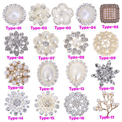 10pcs Bulk of Crystal Rhinestone Pearl Buttons Flower Embellishment Sewing Craft