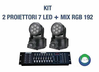 Kit 2 Proiettore Led Rgb Testa Mobile Rotan. 7 Led Wash Dmx + Mixer Rgb Dmx 192
