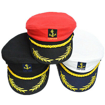 Adult Unisex Sailor Navy Military Captain Nautical Hat Cap Fancy Dress Costume