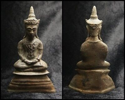 RARE GILDED BRONZE MEDITATING AYUTTHAYA CROWNED BUDDHA, MID 17th THAI AMULET #P1