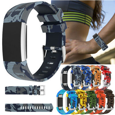 Replacement Soft Sport Band Camo Silicone Wrist Band Strap For Fitbit Charge 2