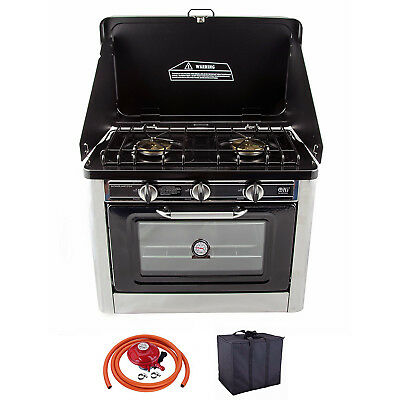 CO-01 Portable Stainless Steel Gas Stove Oven 2 Burners Camping Outdoor Caravan
