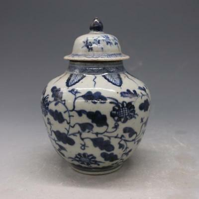 antique   Chinese ancient qing dynasty blue and white porcelain tea pot.