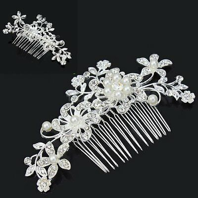 Women Wedding Bridal Diamante Crystal Rhinestone Flower Pearls Hair Comb Clip AU
