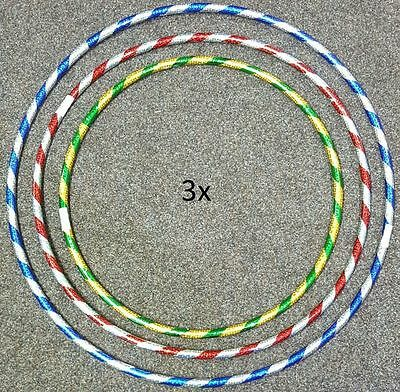 New 3 x Multi Colour Kids ADULT Hula Hoop Durable Plastic Indoor Outdoor Fitness