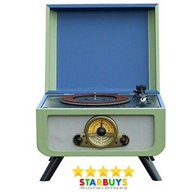 Retro Vinyl Turntable 1960's Style Built-in Speakers, CD Record Player & Radio