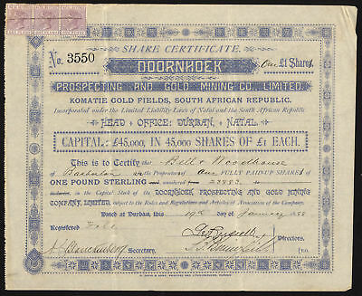 South Africa: Doornhoek Prospecting and Gold Mining Co. Ltd., £1 shares, 1887